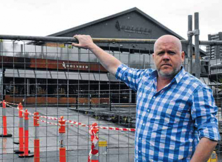 Woolshed general manager Duncan Laidlaw outside his now fenced off venue.